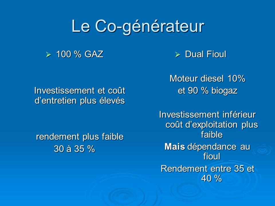 Le Co-générateur 100 % GAZ. Investissement et coût d'entretien plus élevés. rendement plus faible.
