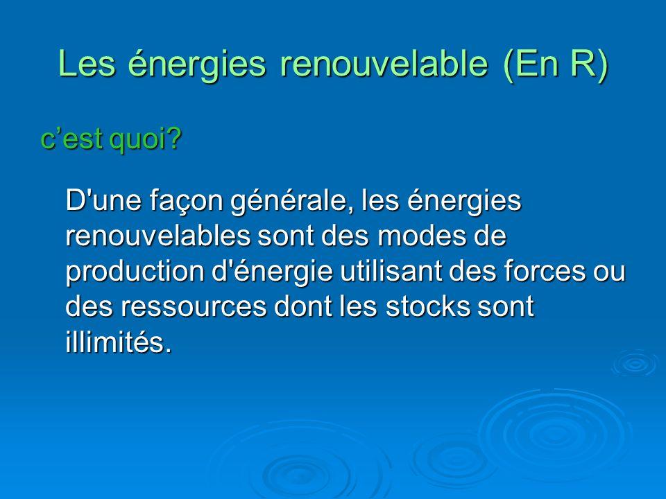 Les énergies renouvelable (En R)