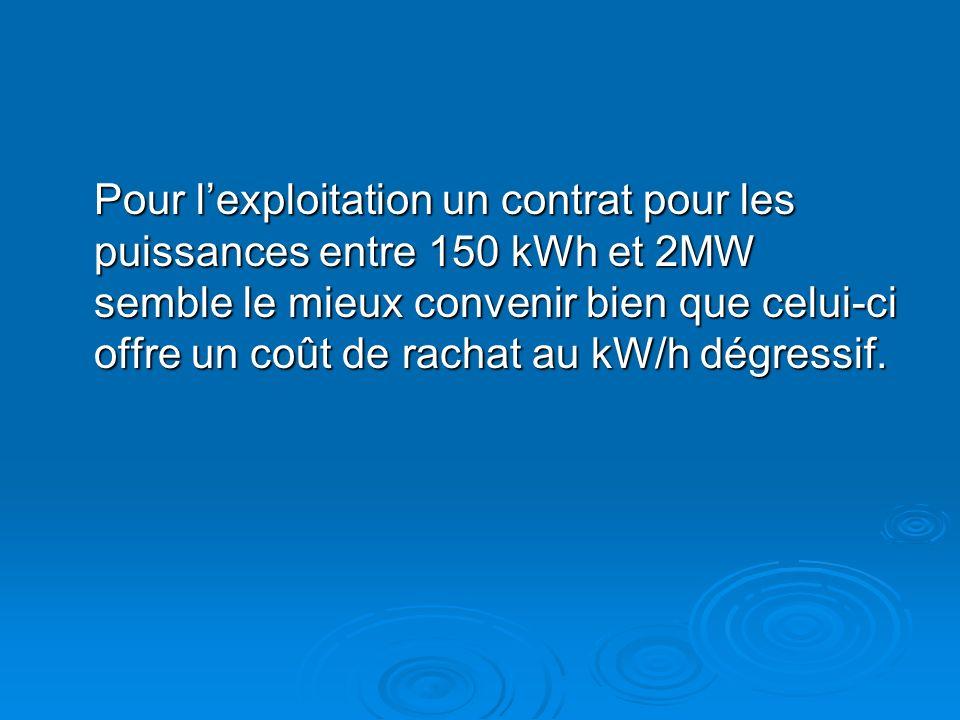 Pour l'exploitation un contrat pour les puissances entre 150 kWh et 2MW semble le mieux convenir bien que celui-ci offre un coût de rachat au kW/h dégressif.