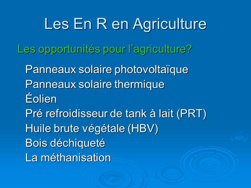 Les En R en Agriculture Les opportunités pour l'agriculture