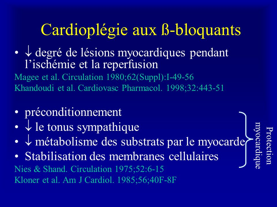 Cardioplégie aux ß-bloquants