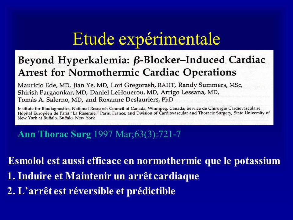 Etude expérimentale Ann Thorac Surg 1997 Mar;63(3):721-7. Esmolol est aussi efficace en normothermie que le potassium.
