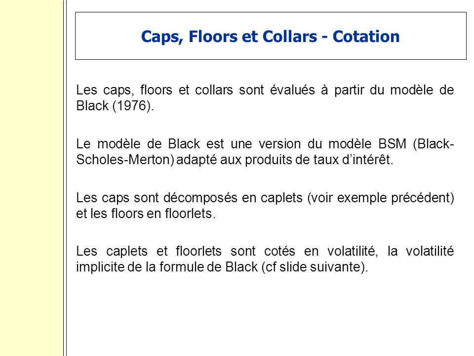 Caps, Floors et Collars - Cotation