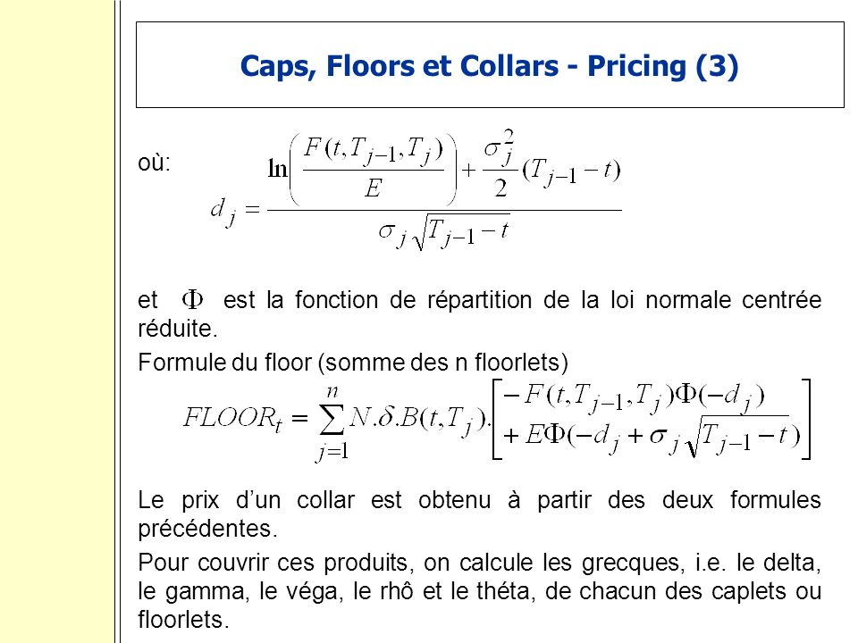 Caps, Floors et Collars - Pricing (3)