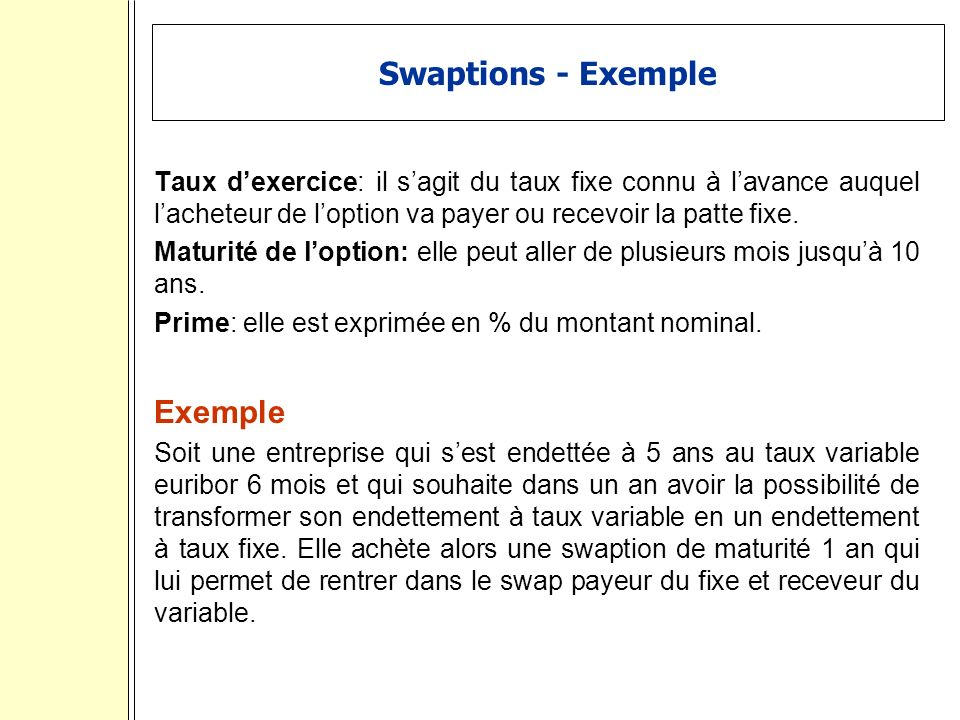 Swaptions - Exemple Exemple