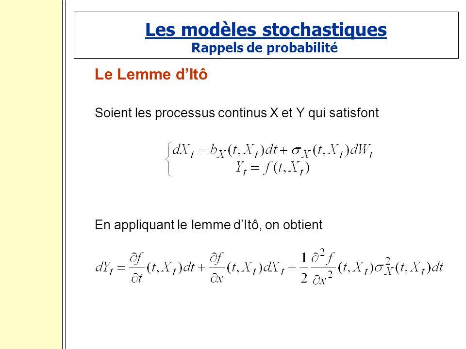 Les modèles stochastiques Rappels de probabilité