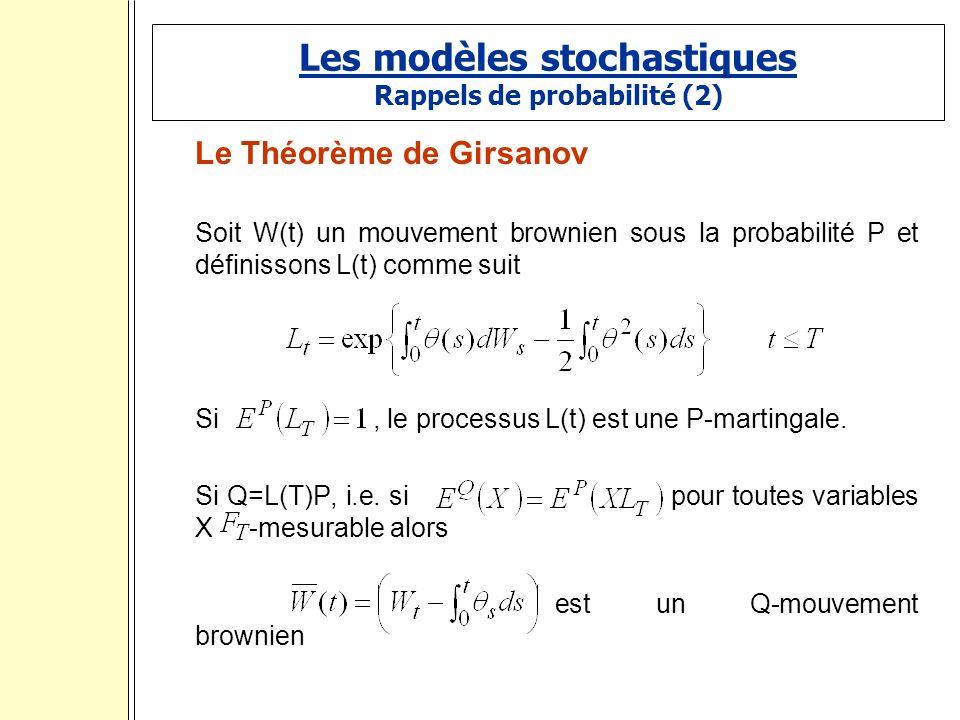 Les modèles stochastiques Rappels de probabilité (2)