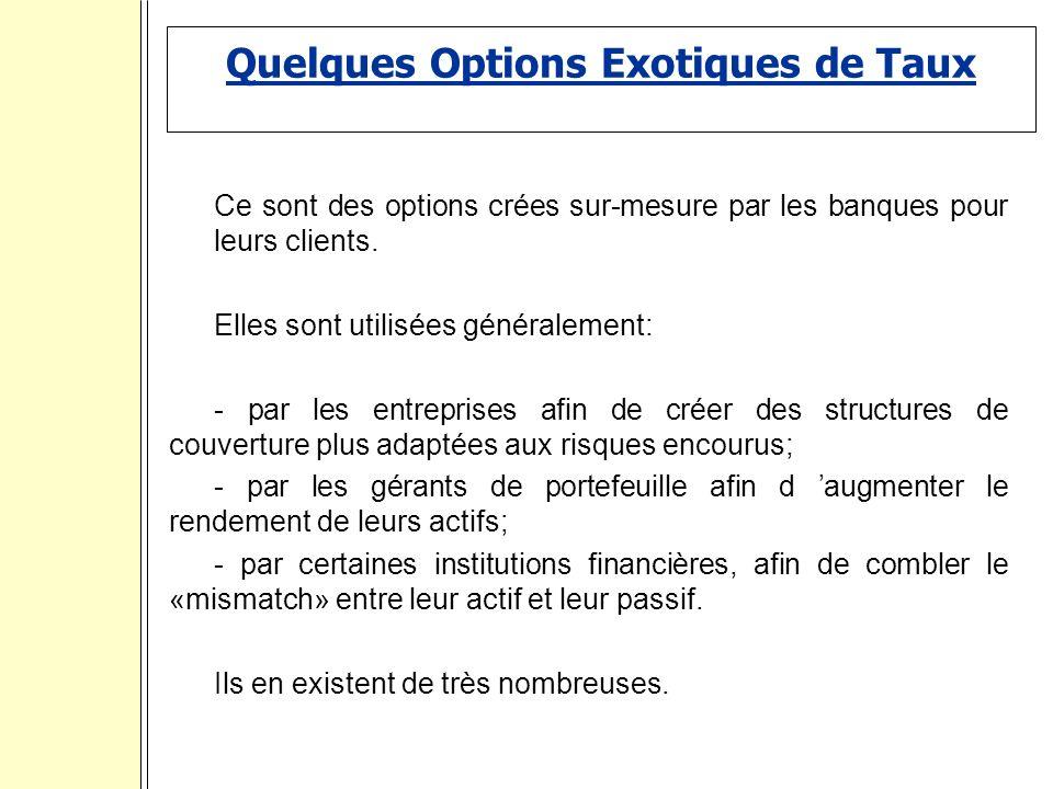 Quelques Options Exotiques de Taux