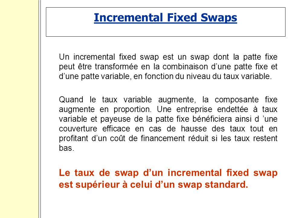 Incremental Fixed Swaps