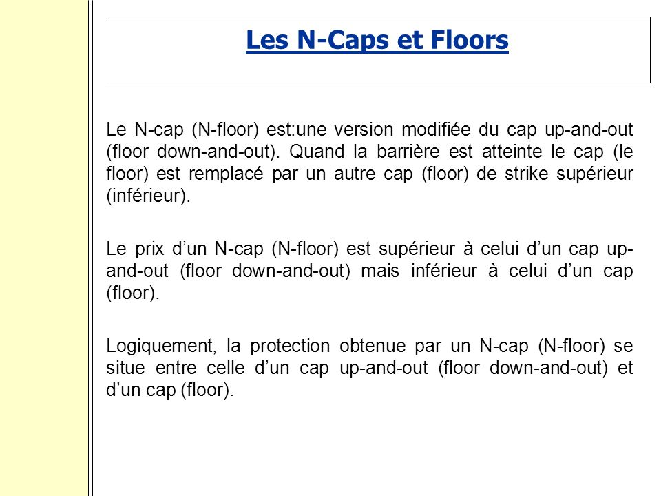 Les N-Caps et Floors