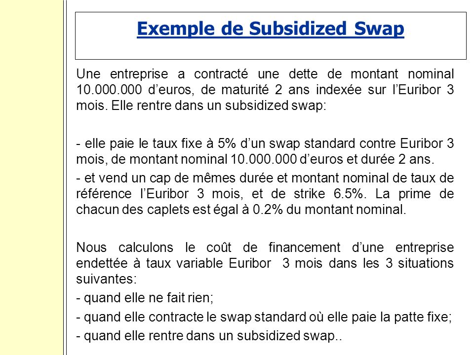 Exemple de Subsidized Swap