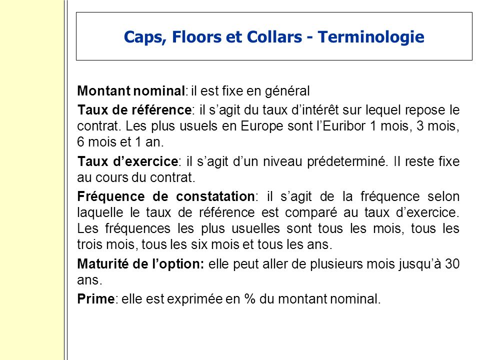 Caps, Floors et Collars - Terminologie