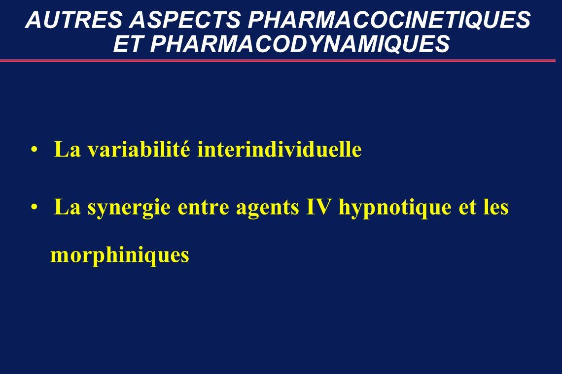 AUTRES ASPECTS PHARMACOCINETIQUES ET PHARMACODYNAMIQUES