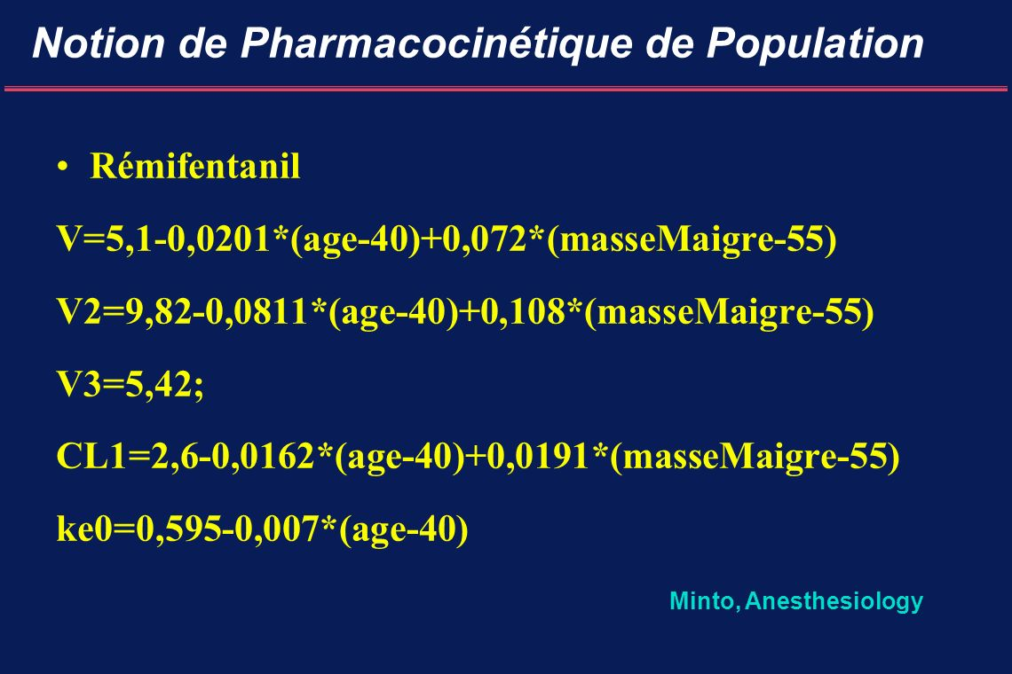 Notion de Pharmacocinétique de Population