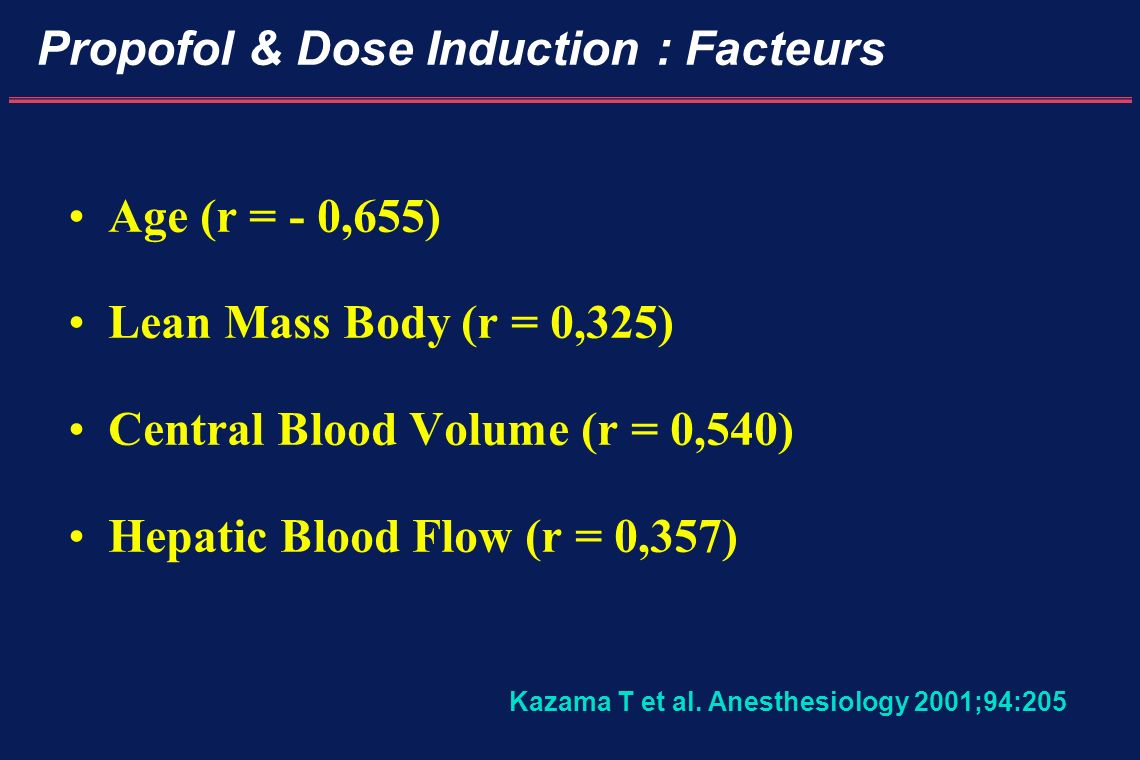 Propofol & Dose Induction : Facteurs