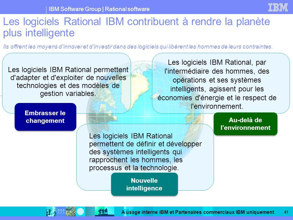 Les logiciels Rational IBM contribuent à rendre la planète plus intelligente Ils offrent les moyens d innover et d investir dans des logiciels qui libèrent les hommes de leurs contraintes.