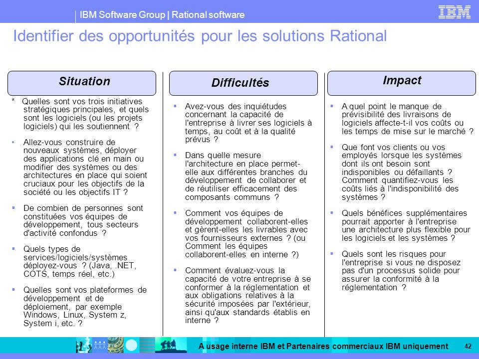Identifier des opportunités pour les solutions Rational