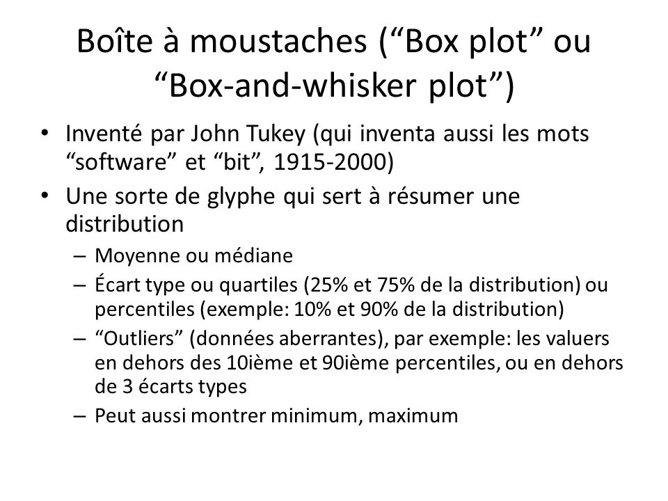 Boîte à moustaches ( Box plot ou Box-and-whisker plot )