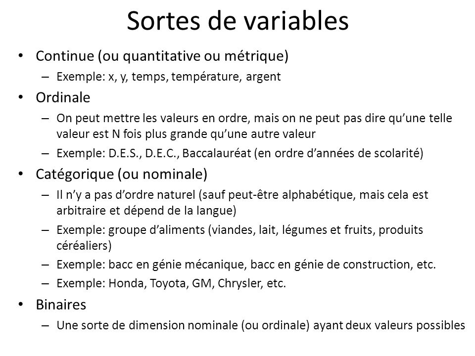 Sortes de variables Continue (ou quantitative ou métrique) Ordinale