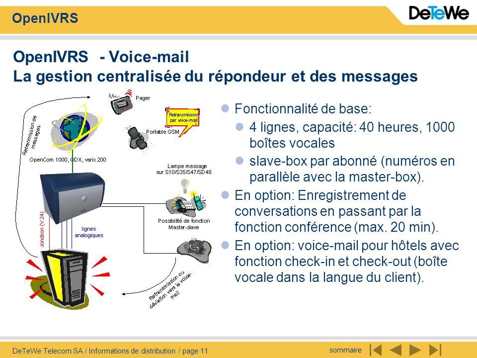 OpenIVRS - Voice-mail La gestion centralisée du répondeur et des messages