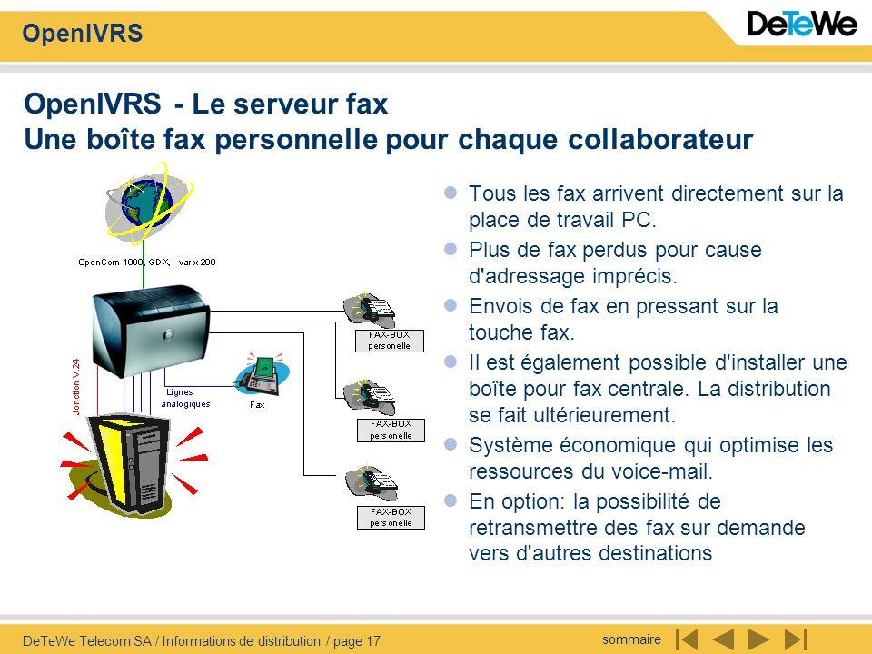 OpenIVRS - Le serveur fax Une boîte fax personnelle pour chaque collaborateur