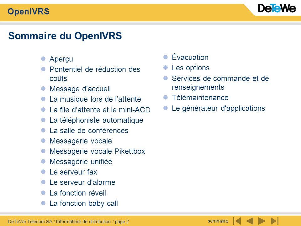 Sommaire du OpenIVRS Aperçu Évacuation
