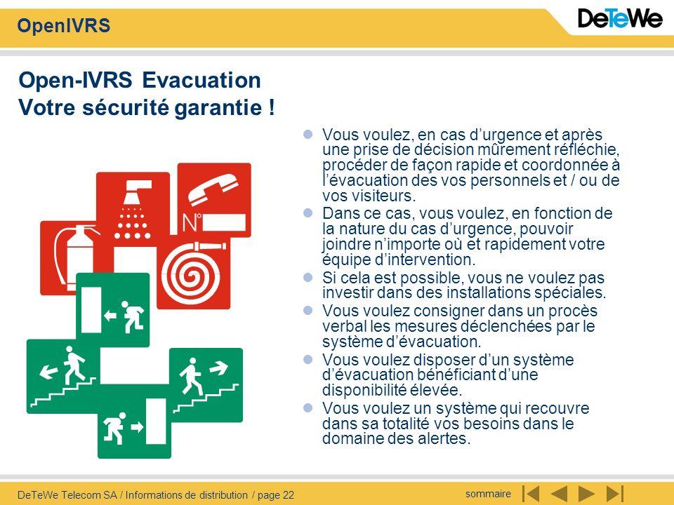 Open-IVRS Evacuation Votre sécurité garantie !