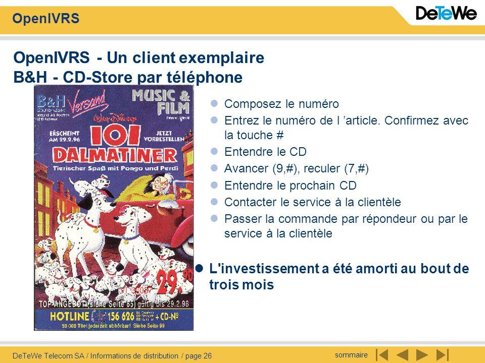 OpenIVRS - Un client exemplaire B&H - CD-Store par téléphone