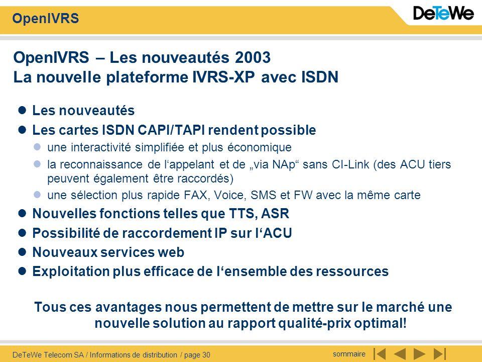 OpenIVRS – Les nouveautés 2003 La nouvelle plateforme IVRS-XP avec ISDN