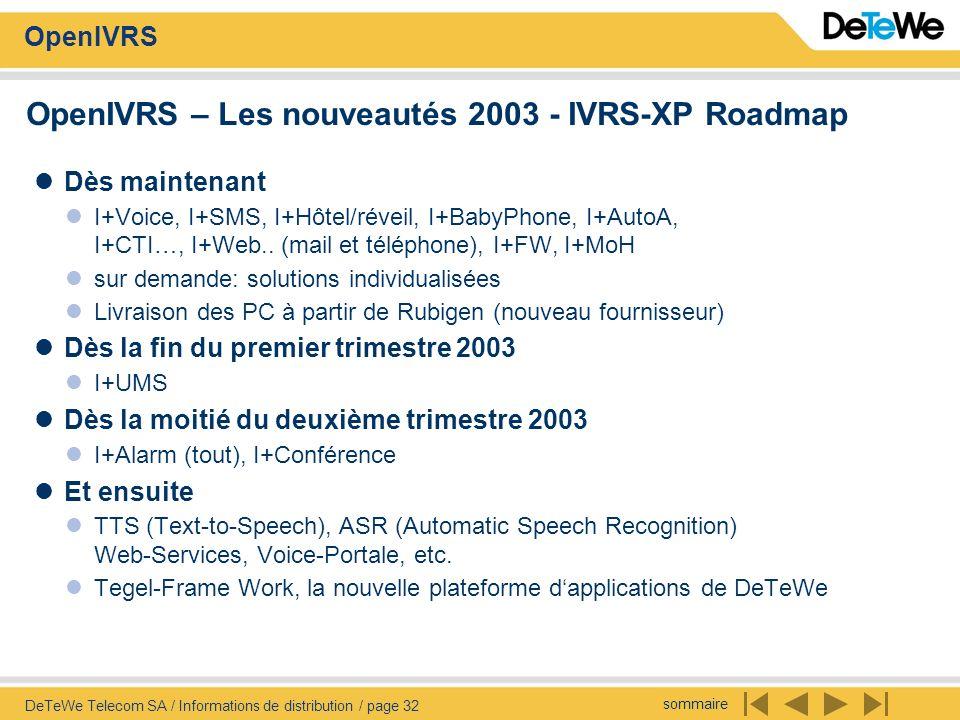 OpenIVRS – Les nouveautés 2003 - IVRS-XP Roadmap