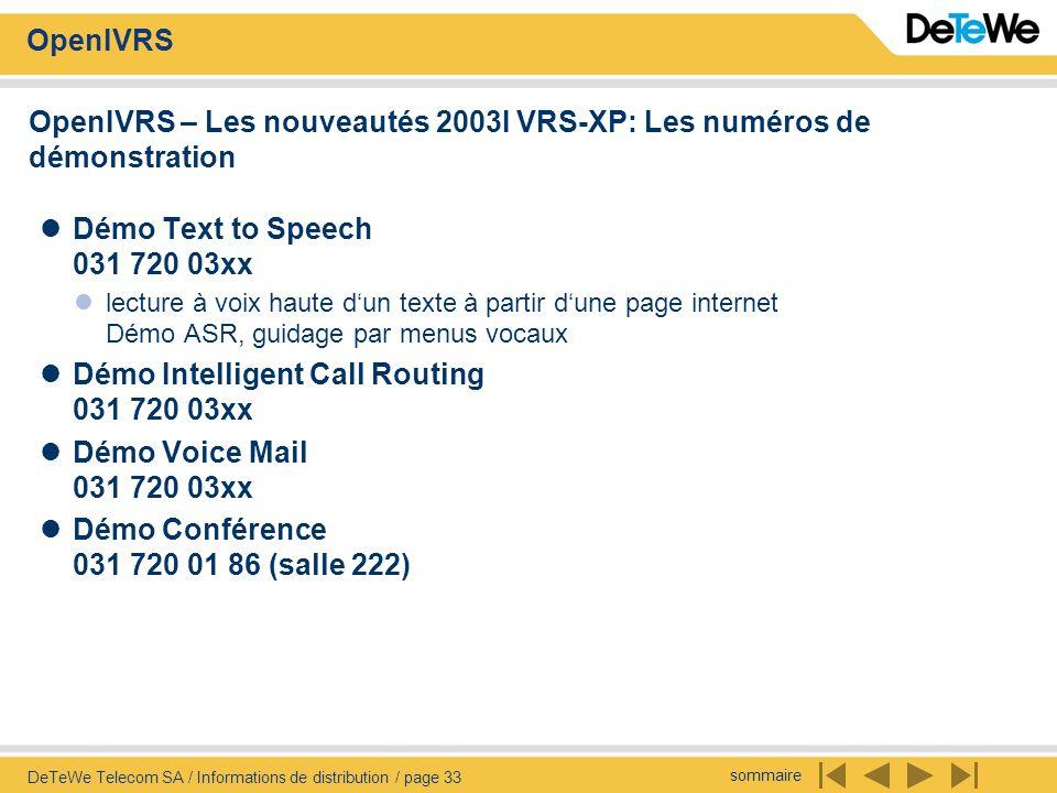 OpenIVRS – Les nouveautés 2003I VRS-XP: Les numéros de démonstration