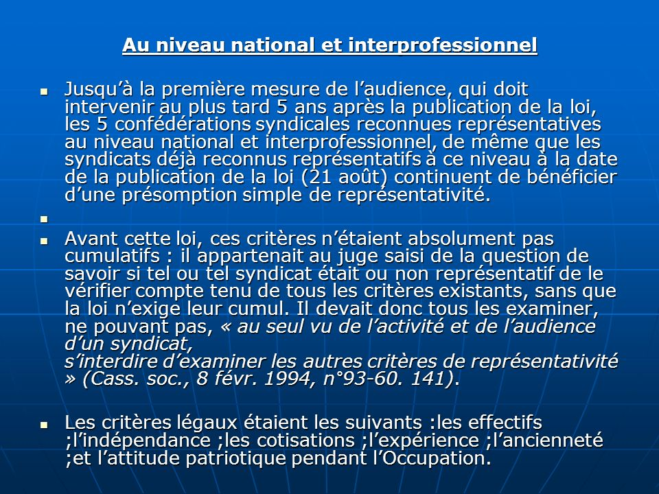 Au niveau national et interprofessionnel