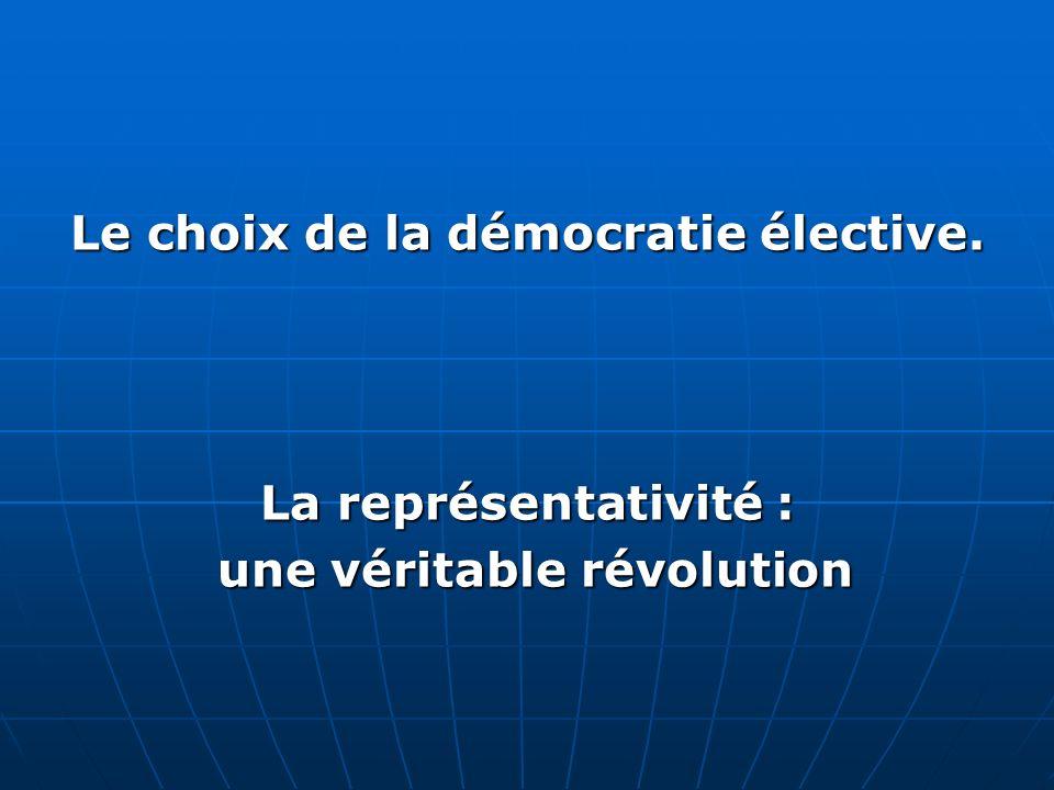 Le choix de la démocratie élective. une véritable révolution