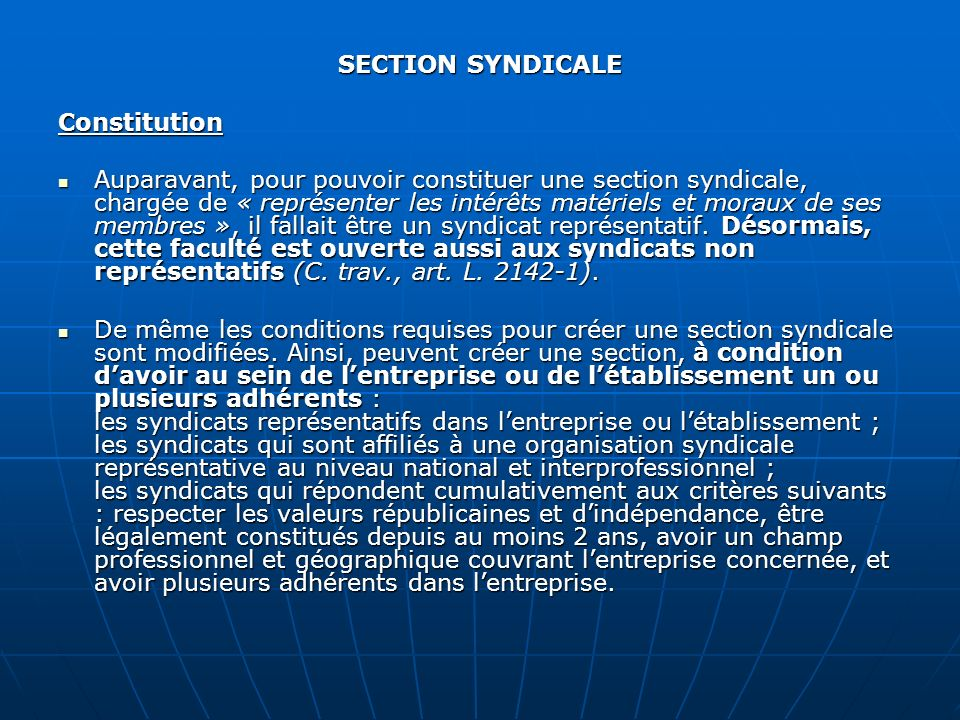 SECTION SYNDICALE Constitution.