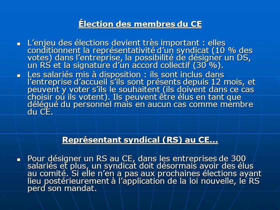 Élection des membres du CE Représentant syndical (RS) au CE...