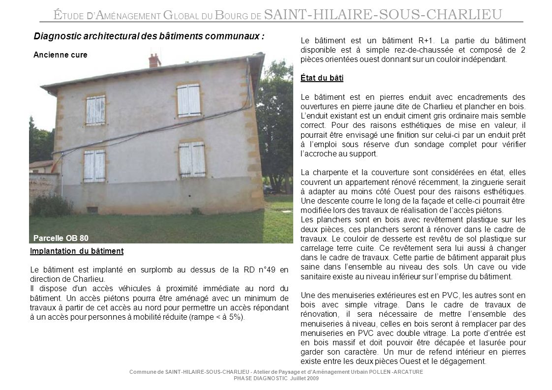 Diagnostic architectural des bâtiments communaux :