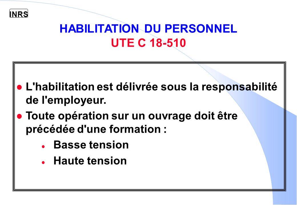 HABILITATION DU PERSONNEL UTE C 18-510