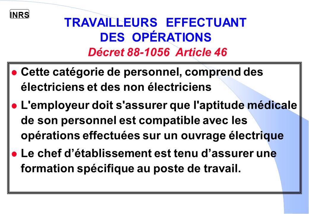 TRAVAILLEURS EFFECTUANT DES OPÉRATIONS Décret 88-1056 Article 46