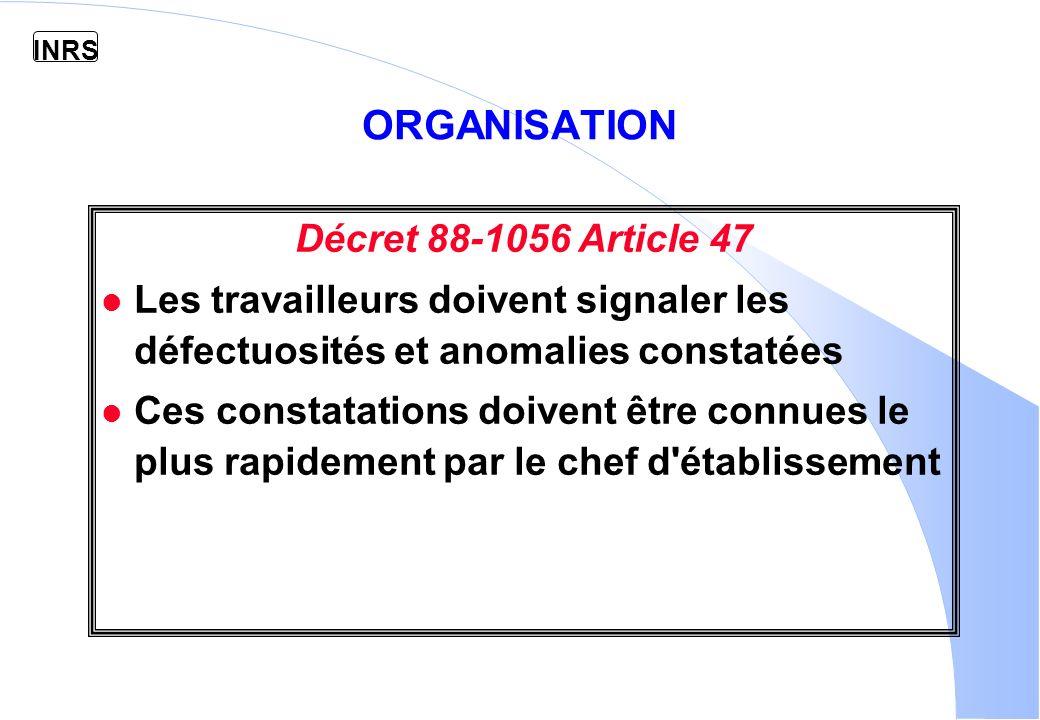 ORGANISATION Décret 88-1056 Article 47