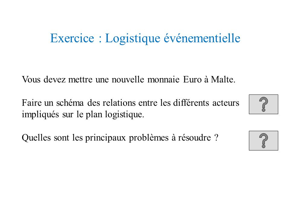 Exercice : Logistique événementielle
