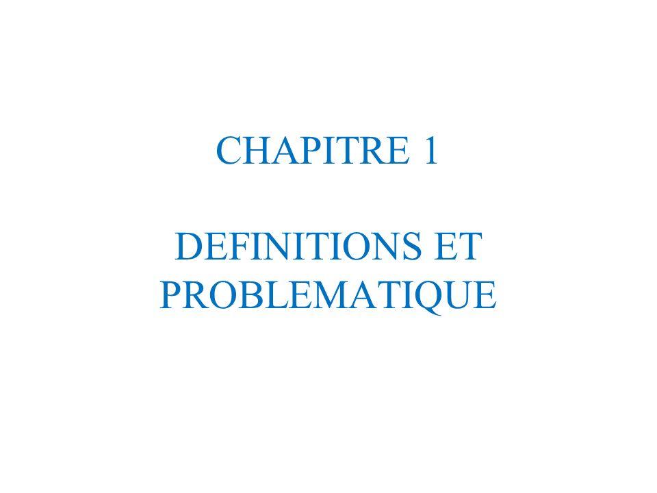 CHAPITRE 1 DEFINITIONS ET PROBLEMATIQUE