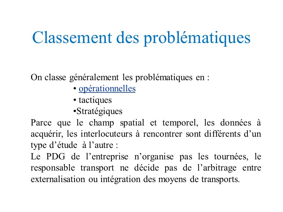 Classement des problématiques