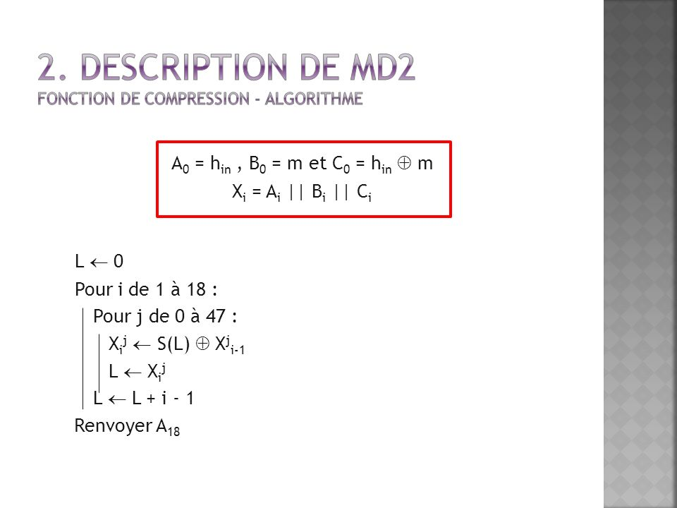 2. Description de MD2 Fonction de Compression - Algorithme