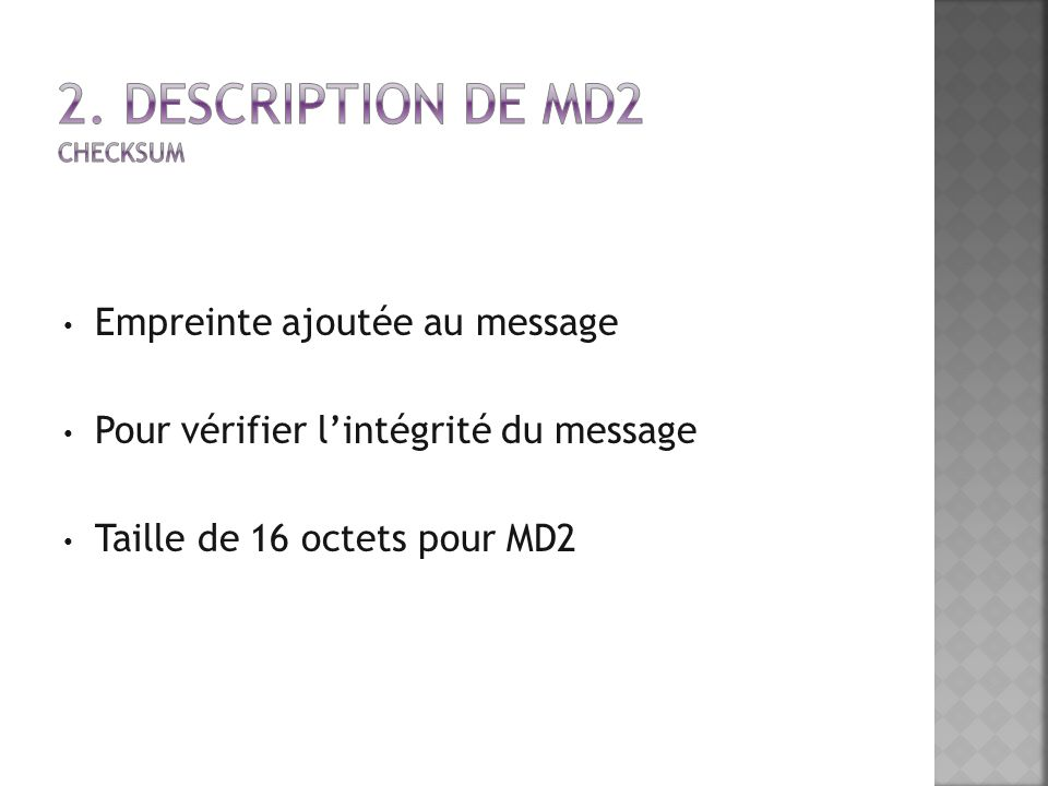 2. Description de MD2 Checksum