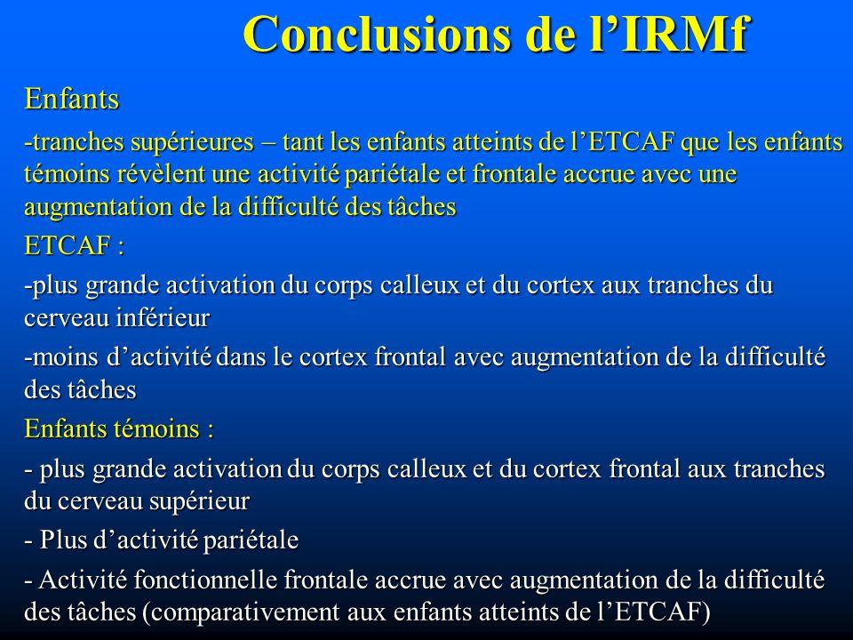 Conclusions de l'IRMf Enfants