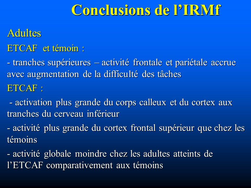 Conclusions de l'IRMf Adultes ETCAF et témoin :