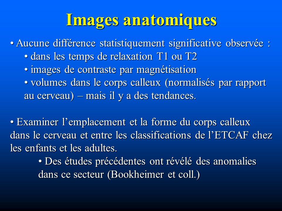 Images anatomiques Aucune différence statistiquement significative observée : dans les temps de relaxation T1 ou T2.