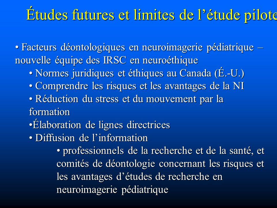 Études futures et limites de l'étude pilote