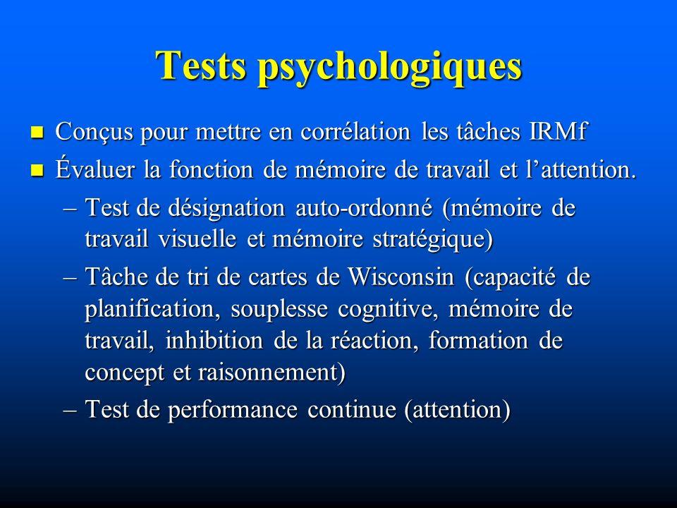 Tests psychologiques Conçus pour mettre en corrélation les tâches IRMf