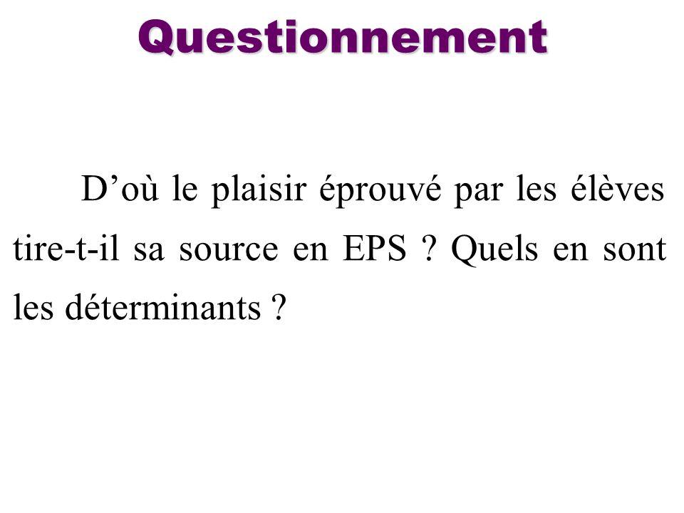 Questionnement D'où le plaisir éprouvé par les élèves tire-t-il sa source en EPS .
